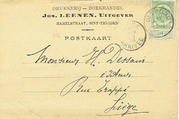 Postkaart Publicitaire SAINT-TROND 1908 - Header JOS. LEENEN, Uitgever Te SINT-TRUIDEN - Drukkerij-Boekhandel - Sint-Truiden