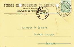Postkaart Publicitaire SAINT-TROND 1912 >Sucrerie De Trognée - Header FORGES ET FONDERIES DU LIMBOURG Te SINT-TRUIDEN - Sint-Truiden