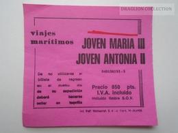 D162662 Croisière Maritime Joven Maria Y Antonia  - Espagne - Costa Brava - Bateau - Billet Ticket - Titres De Transport
