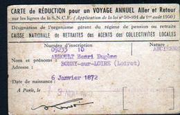 45, Bonny Sur Loire, Carte De Reduction Pour Un Voyage Annuel Aller Et Retour Sur Les Lignes SNCF. - Titres De Transport