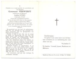 Devotie - Doodsprentje Overlijden - Oudstrijder Gommaar Verwerft - Nijlen 1884 - 1967 - Décès