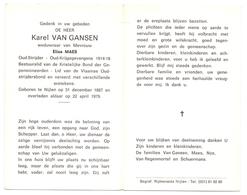 Devotie - Doodsprentje Overlijden - Oudstrijder Karel Van Gansen - Nijlen 1887 - 1979 - Décès