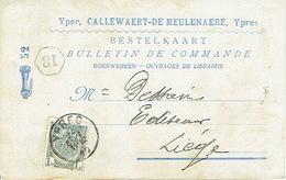 Postkaart Publicitaire  IEPER 1910 - Header CALLEWAERT-DE MEULENAERE Boekhandel Te YPRES - Ieper