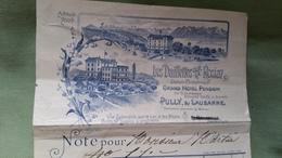 FACTURE HOTEL LES DAILLETTES 1901 PULLY SUR LAUSANNE - Suisse