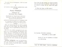 Devotie - Doodsprentje Overlijden - Oudstrijder Frans Franck - Koningshooikt 1891 - Putte 1972 - Décès