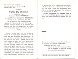 Devotie - Doodsprentje Overlijden - Oudstrijder Victor De Winter - Nijlen 1884 - 1974 - Décès