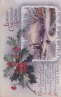 AR03 Greetings - Loving Christmas Wishes - Windmill In The Snow, Holly Berries - Christmas