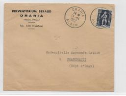 ALGERIE - 1952 - ENVELOPPE De DRARIA (IND 5) => FRANCHETTI - Lettres & Documents