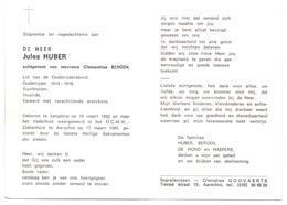 Devotie - Doodsprentje Overlijden - Oudstrijder Jules Huber - Langdorp 1892 - Aarschot 1985 - Décès