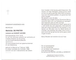 Devotie - Doodsprentje Overlijden -  Mathilde De Preter - Beerzel 1898 - 1986 - Décès