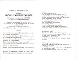 Devotie - Doodsprentje Overlijden - Oudstrijder Michel Vannieuwenhuyse - Handzame 1894 - Torhout 1987 - Décès