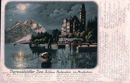 Vierwaldstätter See, Schloss Hertenstein Im Mondschein, Litho (6207) Pli D'angle - LU Lucerne
