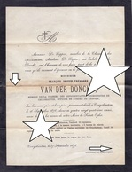 LETTRE DE DECES ** BURGEMEESTER KRUISHOUTEM - VAN DE DONCKT - 1794 - 1878 ** RARE ! - Documents Historiques