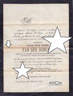 LETTRE DE DECES ** BURGEMEESTER KRUISHOUTEM - VAN DE DONCKT - 1794 - 1878 ** RARE ! - Historische Documenten