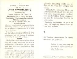 Devotie - Doodsprentje Overlijden - Oudstrijder Julius Nauwelaerts - Bonheiden 1893 - 1974 - Décès