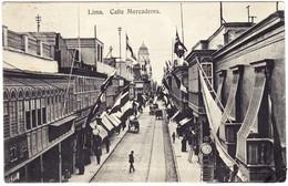 1916 Gelaufene AK Nach Wien; Calle Mercaderes; Markthallen; Linke Unter Ecke Etwas Bestoßen - Peru