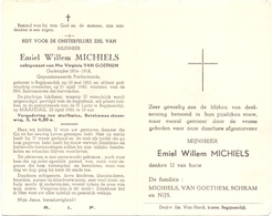 Devotie - Doodsprentje Overlijden - Oudstrijder Emiel Willem Michiels - Begijnendijk 1883 - 1960 - Décès