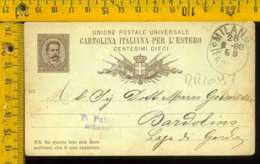 Regno Umberto Cartolina Intero Postale Lago Di Garda Bardolino Da Milano - 1878-00 Umberto I