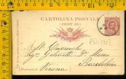 Regno Umberto Cartolina Intero Postale Lago Di Garda Bardolino Da Udine - 1878-00 Umberto I