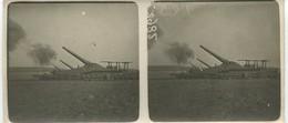 Belle Photo Stéréo Tir De Trois Canons Lourds Sur Voie Ferrée 14-18 12,5 X 6 Cm - 1914-18