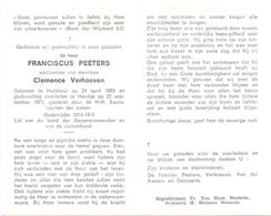 Devotie - Doodsprentje Overlijden - Oudstrijder Franciscus Peeters - Hulshout 1883 - Heultje 1971 - Décès