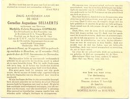 Devotie - Doodsprentje Overlijden - Oudstrijder Ere Schoolhoofd Cornelius Seliaerts - Ranst 1881 - Broechem 1962 - Décès