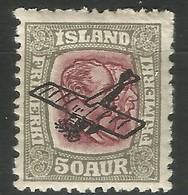 ISLANDE Poste Aérienne N°2 50 Aur NSG, Cote 52€ - Poste Aérienne