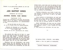 Devotie - Doodsprentje Overlijden - Oudstrijder Jan Baptist Dries - Herentals 1895 - Lier 1969 - Décès