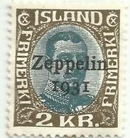 ISLANDE Poste Aérienne N° 11, 2K, Surcharge ZEPPELIN Ovpt, Cote 60€ - Poste Aérienne