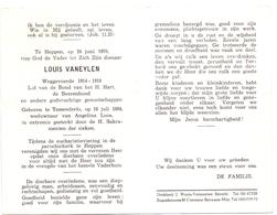 Devotie - Doodsprentje Overlijden - Oudstrijder Louis Vaneylen - Tessenderlo 1884 - Heppen 1970 - Décès