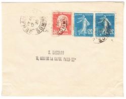 1926 Kleiner Brief Aus Senarpont Nach Paris; Zwei 25 Cent Blau  Semeuse Mit Druckabart/verkehrt - France
