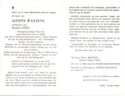 Devotie - Doodsprentje Overlijden - Oudstrijder Alfons Wantens - Tollembeek 1893 - 1971 - Décès
