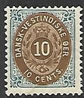 Danish West Indies  1901   Sc#20b   10c  MLH*  2016 Scott Value $170 - Denmark (West Indies)