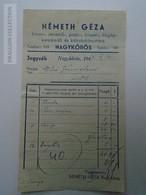 D162666 Hungary Invoice - Németh Géza Bibliothèque De Prêt Loan Library Nagykőrös 1947 Bookshop - Facturas & Documentos Mercantiles