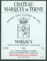 Etiquette De Vin Bordeaux Château Marquis De Terme Margaux 1993 - Bordeaux