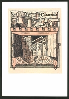 Exlibris Von Hans Pieper Für A. Caracciola, Ritter Bedient Geschütz, Bücher Im Schliessfach - Exlibris