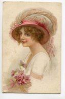 ILLUSTRATEUR  0012 Jeune Femme Chapeau Plumes écrite En 1918 - Illustrators & Photographers