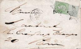5c Empire (déf) Avec Bord De Feuille Cachet CONTROLE T.P. Sur Pli Du 23 Mai 1868 - 1862 Napoleon III