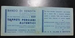 BANDO Di VENDITA, COOLLEZIONE 850 TAPPETI PERSIANI A Roma - INVITO - Documenti Storici