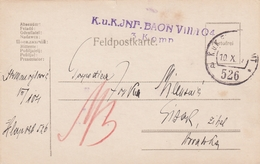 WWI Austria Croatia Feldpost 526 Sent To Sisak 1917 - 1850-1918 Impero