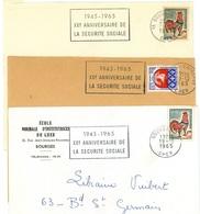 BOURGES GARE / R. P. / ENTREPOT CHER 1945-1965 : XXe ANNIVERSAIRE SECURITE SOCIALE - Maschinenstempel (Werbestempel)
