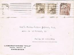 31207. Carta ZARAGOZA 1951. Rodillo Mudo - 1931-Hoy: 2ª República - ... Juan Carlos I
