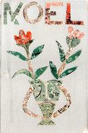 CPA Rtisanale Faite Avec Timbres Découpés - Noel - Vase De Fleurs  (111156) - Stamps (pictures)