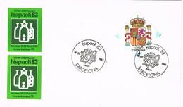 31208. Tarjeta BARCELONA 1983. Salon Internacional HISPACK 83. Dos Viñeta, Label - 1981-90 Cartas