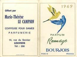 - Ref CH372-carte Parfumée 2 Volets -9cms X 6cms Chaque Volet -parfum Ramage -bourjois -paris -calendrier 1969- - Cartes Parfumées