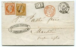 RC 11352 FRANCE N° 13 + 16 - 1857 ALEXANDRIE / EGYPTE BUREAU FRANÇAIS POUR MARSEILLE TB - Postmark Collection (Covers)