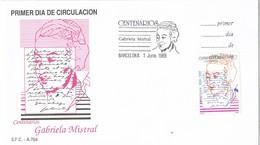 31212. Carta F.D.C. BARCELONA 1989. Centenarios Gabriela MISTRAL, Poeta, Pedagoga - FDC
