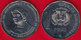 "Dominican Republic 1 Peso 1992 Km#82 ""Christopher Columbus"" UNC - Dominicaine"