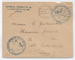 GUERRE D'ALGERIE - 1957 - ENVELOPPE FM De La PHARMACIE GENERALE N°45 Du SP 87262 => STE MENEHOULD (MARNE) - Marcophilie (Lettres)