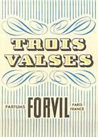 - Ref CH360- Parfumerie -carte Parfumée -8,5cms X 5,5cms -parfum Trois Valses - Parfums Forvil Paris  - Carte Bon Etat - - Cartes Parfumées